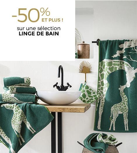 -50% ET PLUS sélection linge de bain