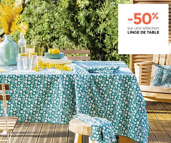 -50% sur une sélection linge de maison