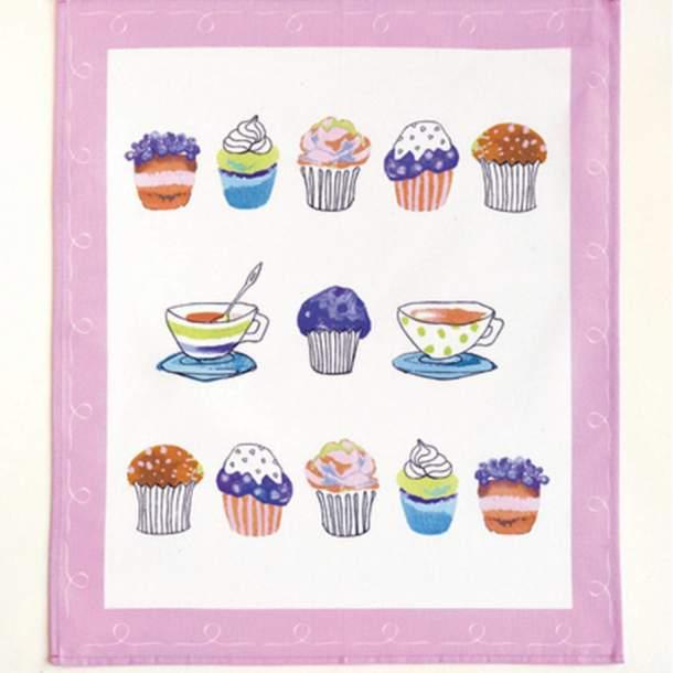 4 Torchons et 4 Essuie-mains - Cakes et Gourmandises