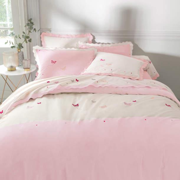 Taie d\'oreiller rose et lin - Confettis et papillons