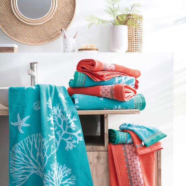 2 Gants de toilette - Fleurs de corail