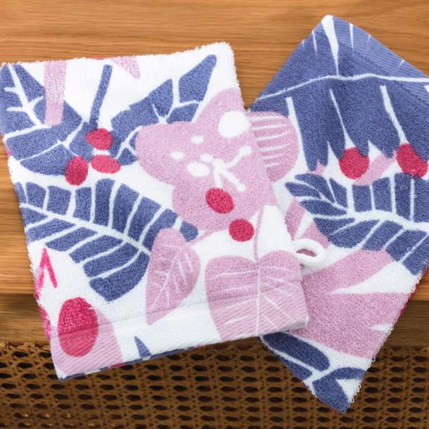 2 gants de toilette - Fleurs Mystérieuses