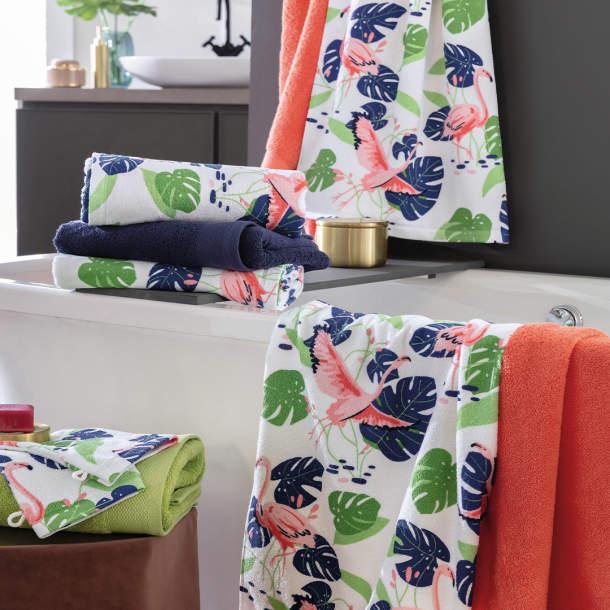 2 Gants de toilette - Impression flamingo