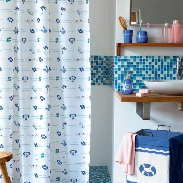 Rideau de douche - Nage Bleue
