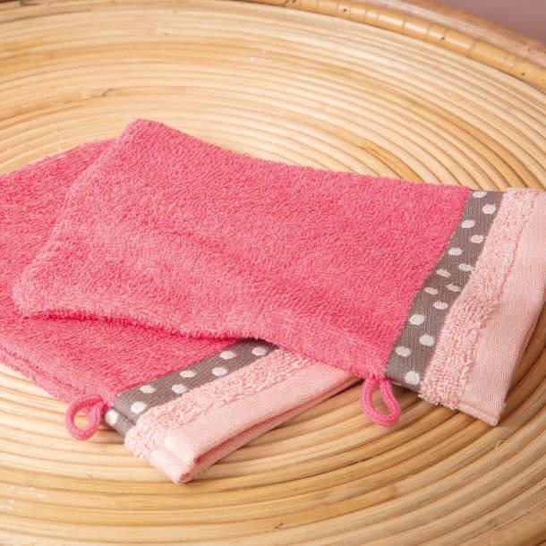 2 Gants de toilette - Rose Blush