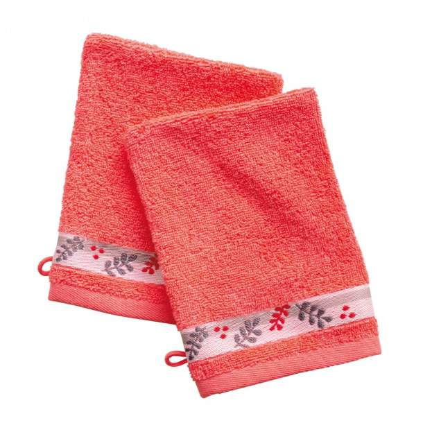 2 gants de toilette - Rouge Poète